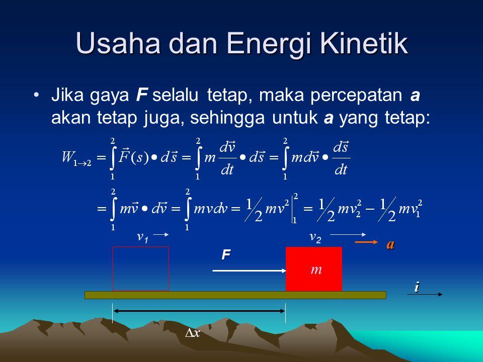 Usaha dan Energi Kinetik Jika gaya F selalu tetap, maka percepatan a akan tetap juga, sehingga untuk a yang tetap: xx F v1v1 v2v2a i m