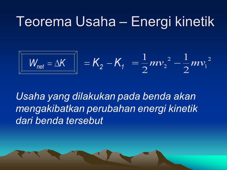 Teorema Usaha – Energi kinetik Usaha yang dilakukan pada benda akan mengakibatkan perubahan energi kinetik dari benda tersebut