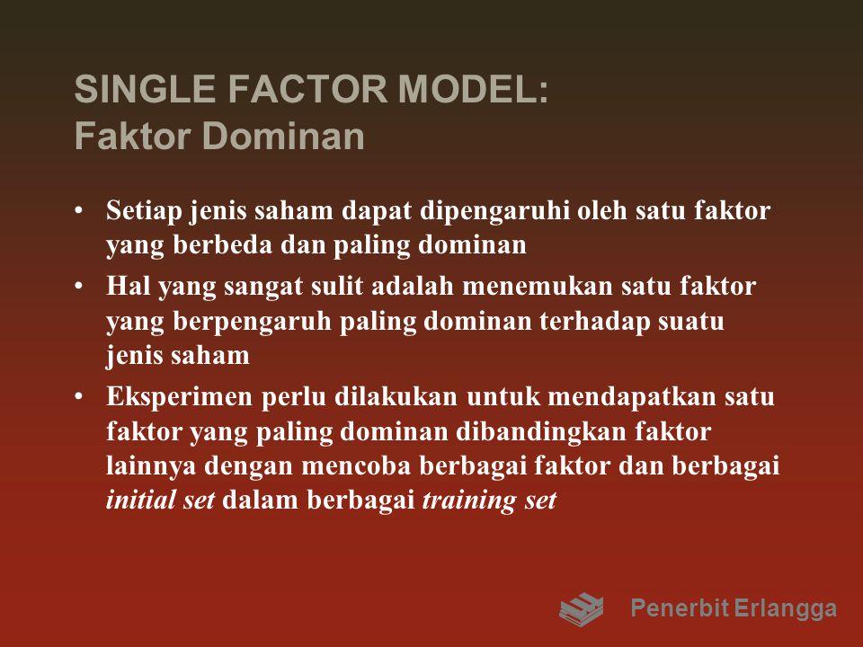 SINGLE FACTOR MODEL: Faktor Dominan Setiap jenis saham dapat dipengaruhi oleh satu faktor yang berbeda dan paling dominan Hal yang sangat sulit adalah