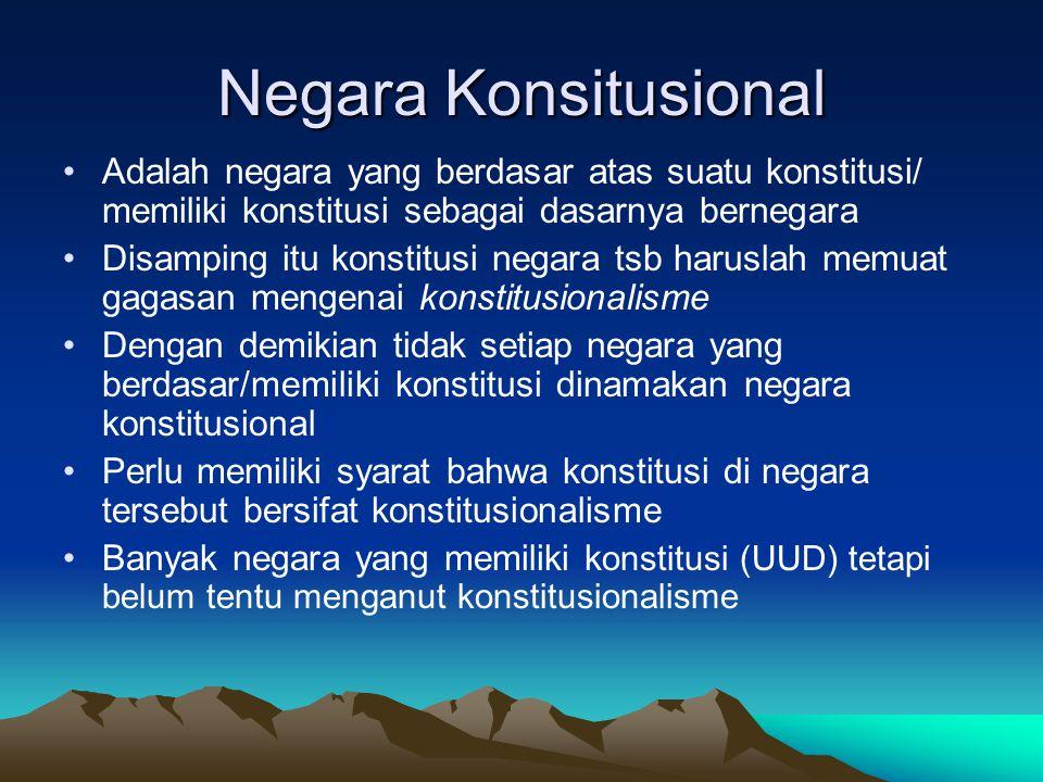 Konstitusi NKRI Konstitusi yang berlaku di NKRI adalah UUD 1945 yang ditetapkan PPKI tanggal 18 Agustus 1945, diberlakukan kembali melalui Dekrit Presiden 5 Juli 1959, dikukuhkan secara aklamasi pada tanggal 22 Juli 1959 oleh DPR dan yang telah mengalami 4 kali perubahan (amandemen) menurut putusan MPR tahun 1999, 2000, 2001, dan 2002 Konstitusi lain yang pernah berlaku adalah KRIS (1949-1950) dan UUDS (1950-1959) Konstitusi yang berlaku di Indonesia adalah hukum dasar tertulis (undang-undang dasar)