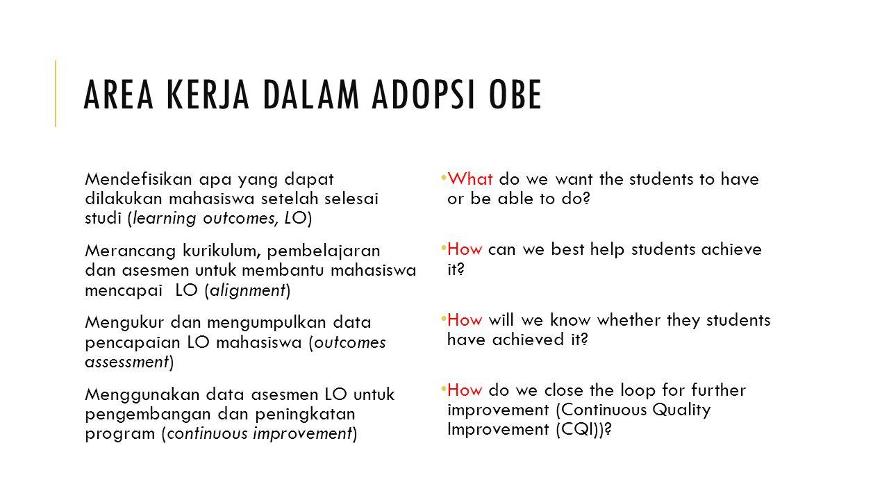 AREA KERJA DALAM ADOPSI OBE Mendefisikan apa yang dapat dilakukan mahasiswa setelah selesai studi (learning outcomes, LO) Merancang kurikulum, pembela