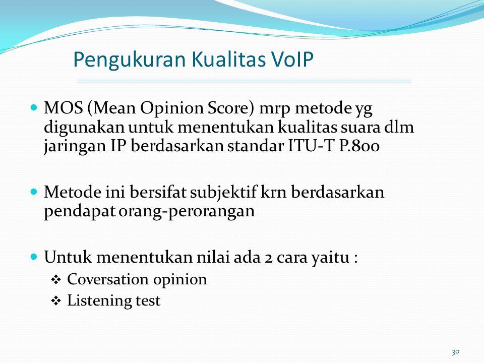 30 Pengukuran Kualitas VoIP MOS (Mean Opinion Score) mrp metode yg digunakan untuk menentukan kualitas suara dlm jaringan IP berdasarkan standar ITU-T
