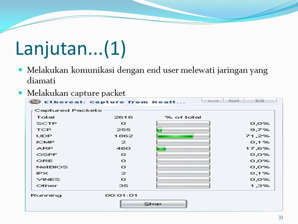 33 Lanjutan...(1) Melakukan komunikasi dengan end user melewati jaringan yang diamati Melakukan capture packet