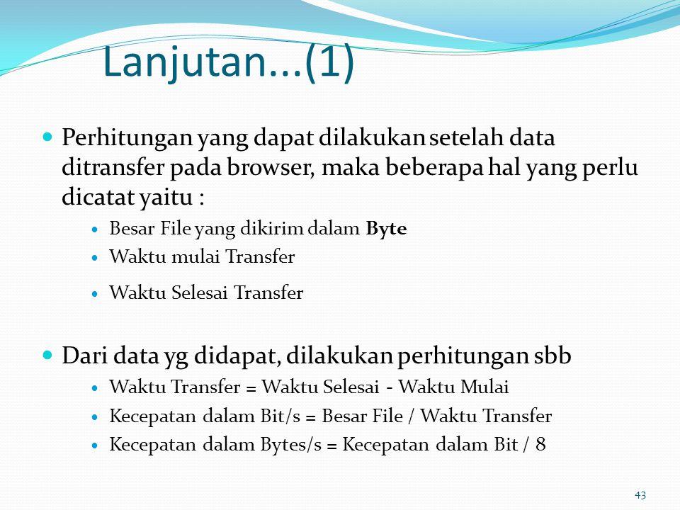 44 Lanjutan...(2) Beberapa hal yg dapat mempengaruhi hasil speed test adl : Lokasi server PC yang dapat melakukan proses download / transfer data yang lain Menggunakan aplikasi yang melakukan transfer data ke jaringan / Network, khususnya yang satu subnet dengan koneksi anda ke internet Kualitas jaringan, khusunya pada transfer data analog yang sangat mungkin terpengaruh oleh noise, atau adanya interferensi elektromagnetis pada jaringan Apabila menggunakan modem 56KBps, secara real bandwidth maksimal yang mungkin didapat hanyalah 53 KBps, keterbatasan ini ada pada spesifikasi FCC-nya Pembatasan besarnya bandwidth efektif pada jaringan, seperti pembatasan akses oleh Bandwidth management, Firewall dsb