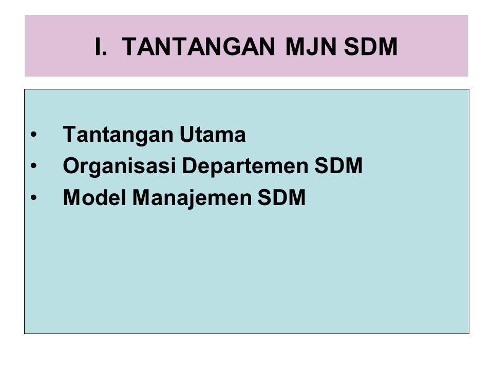 I. TANTANGAN MJN SDM Tantangan Utama Organisasi Departemen SDM Model Manajemen SDM