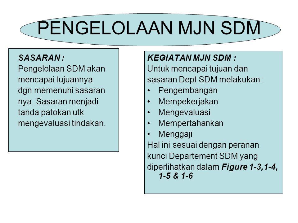 PENGELOLAAN MJN SDM SASARAN : Pengelolaan SDM akan mencapai tujuannya dgn memenuhi sasaran nya.