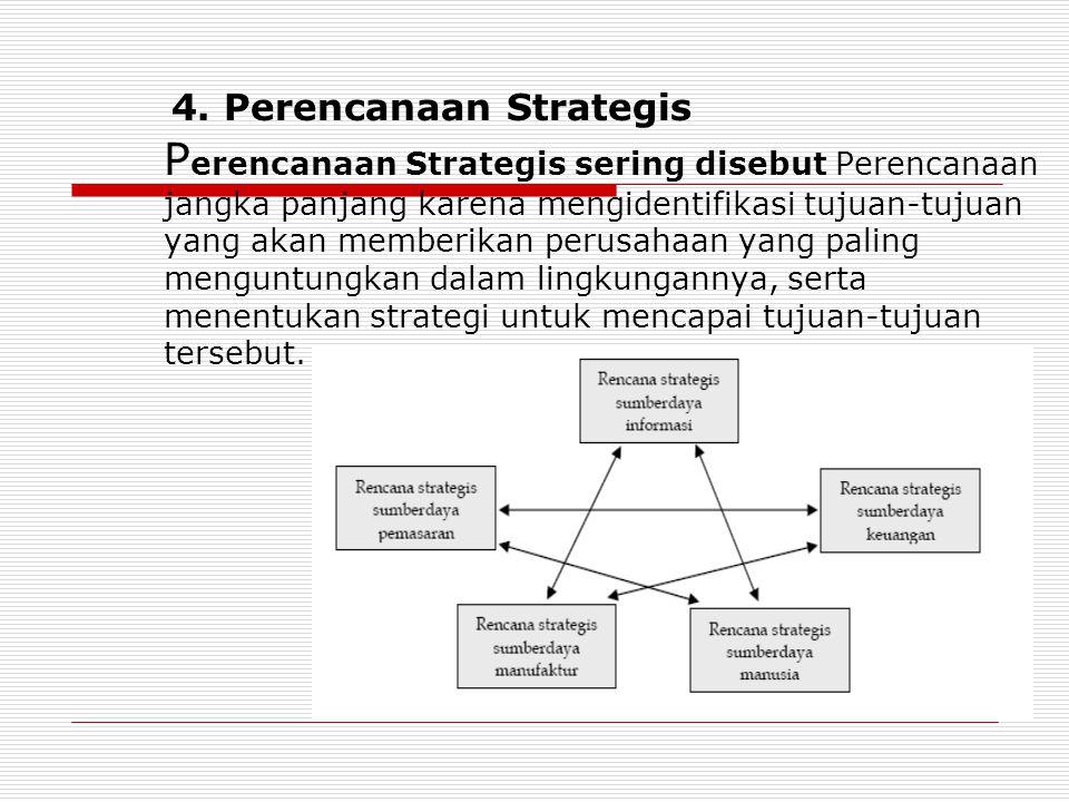 4. Perencanaan Strategis P erencanaan Strategis sering disebut Perencanaan jangka panjang karena mengidentifikasi tujuan-tujuan yang akan memberikan p