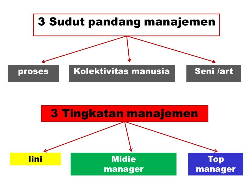 3 Sudut pandang manajemen prosesKolektivitas manusiaSeni /art 3 Tingkatan manajemen liniMidie manager Top manager