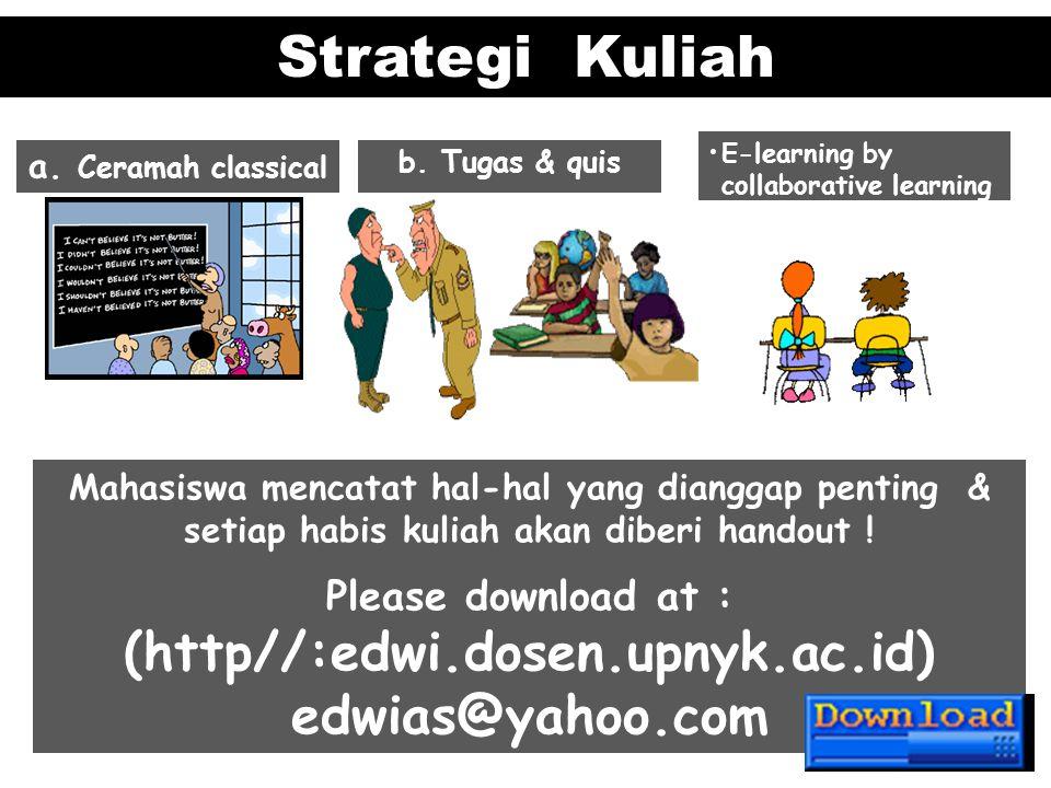 Strategi Kuliah a. Ceramah classical b. Tugas & quis E-learning by collaborative learning Mahasiswa mencatat hal-hal yang dianggap penting & setiap ha