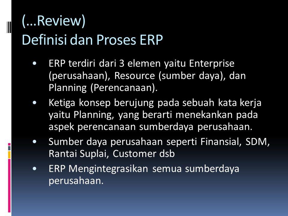 ERP terdiri dari 3 elemen yaitu Enterprise (perusahaan), Resource (sumber daya), dan Planning (Perencanaan).