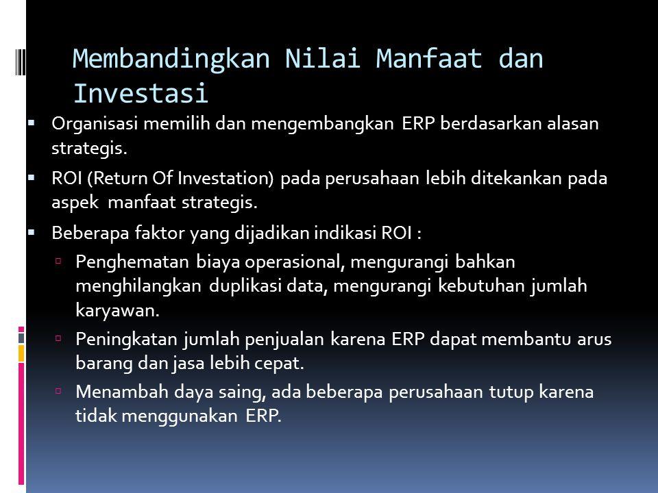 Membandingkan Nilai Manfaat dan Investasi  Organisasi memilih dan mengembangkan ERP berdasarkan alasan strategis.