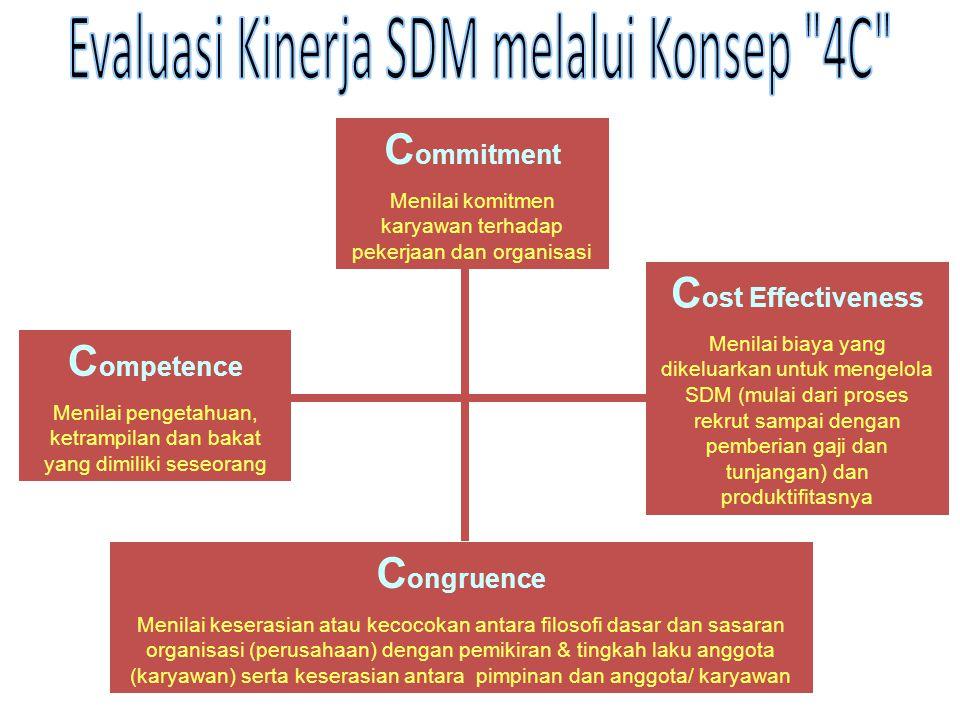 C ommitment Menilai komitmen karyawan terhadap pekerjaan dan organisasi C ost Effectiveness Menilai biaya yang dikeluarkan untuk mengelola SDM (mulai