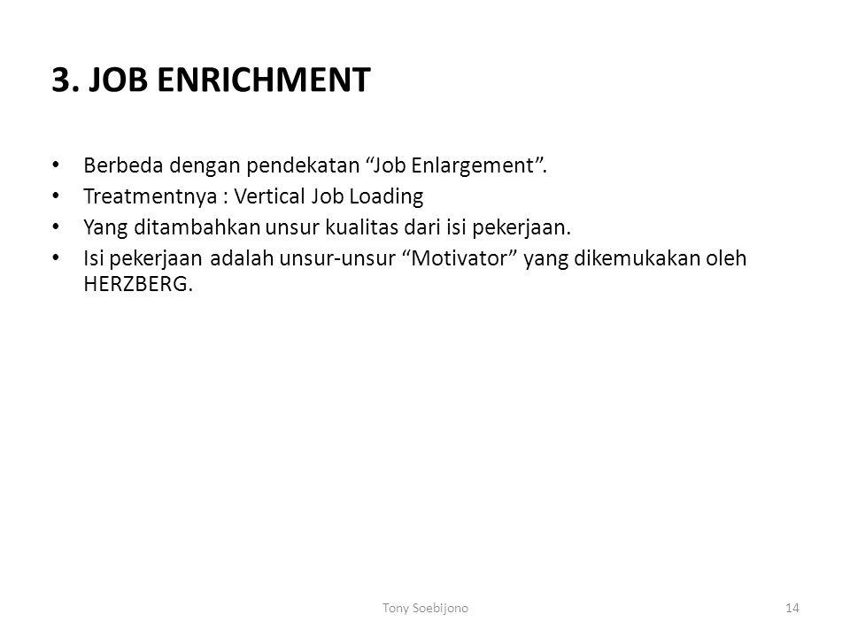 """3. JOB ENRICHMENT Berbeda dengan pendekatan """"Job Enlargement"""". Treatmentnya : Vertical Job Loading Yang ditambahkan unsur kualitas dari isi pekerjaan."""