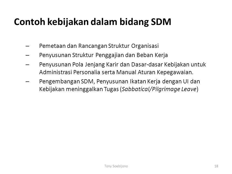 Contoh kebijakan dalam bidang SDM – Pemetaan dan Rancangan Struktur Organisasi – Penyusunan Struktur Penggajian dan Beban Kerja – Penyusunan Pola Jenjang Karir dan Dasar-dasar Kebijakan untuk Administrasi Personalia serta Manual Aturan Kepegawaian.