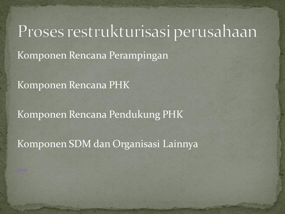 Komponen Rencana Perampingan Komponen Rencana PHK Komponen Rencana Pendukung PHK Komponen SDM dan Organisasi Lainnya proses