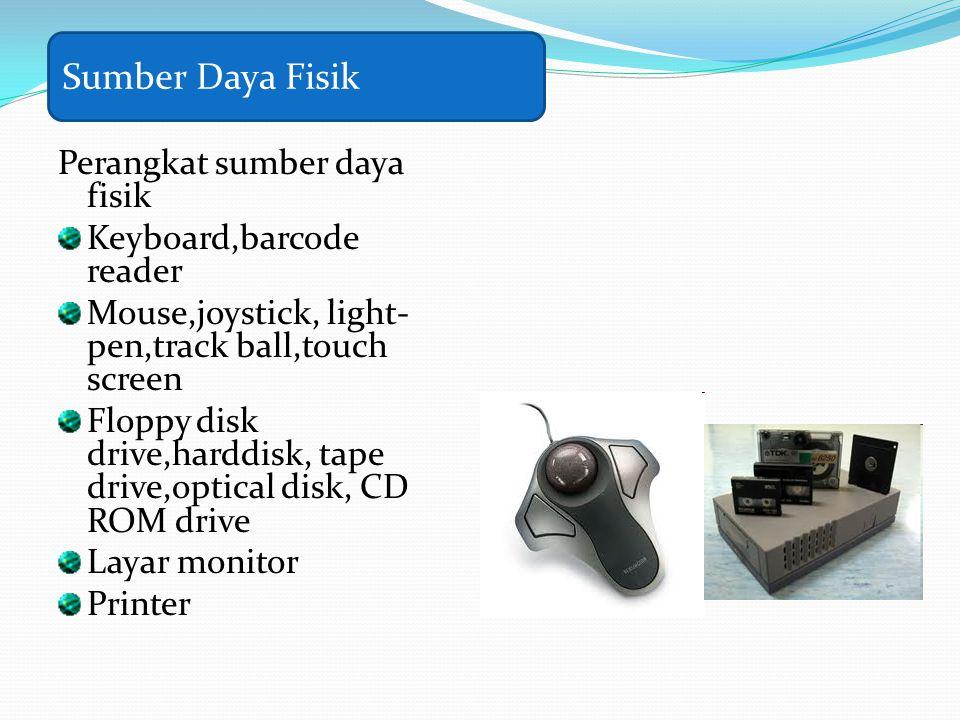 Perangkat sumber daya fisik Keyboard,barcode reader Mouse,joystick, light- pen,track ball,touch screen Floppy disk drive,harddisk, tape drive,optical