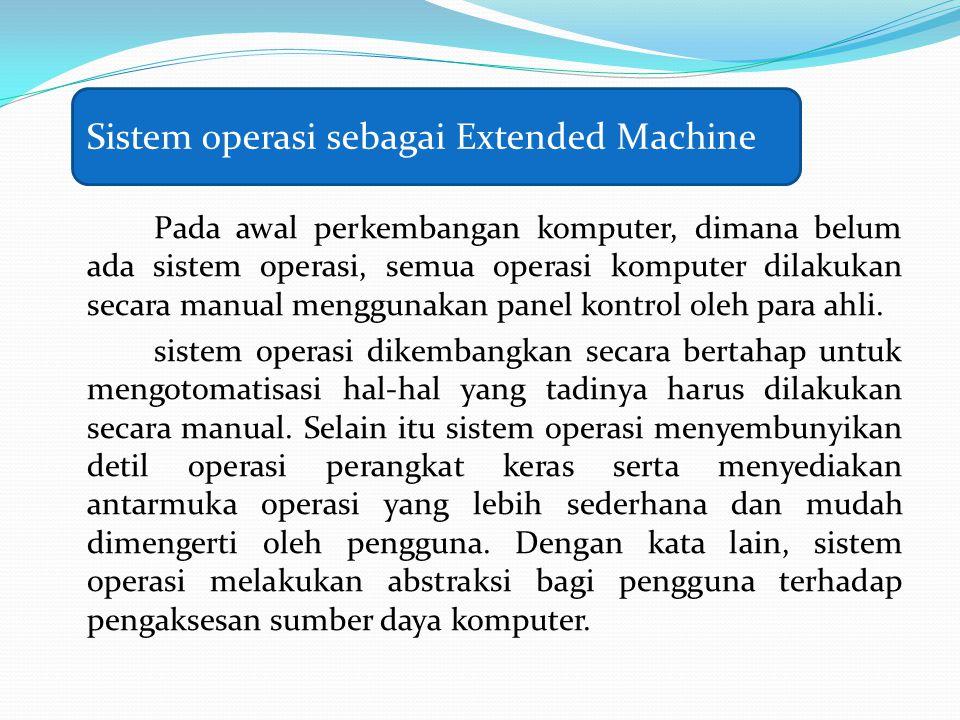Pada awal perkembangan komputer, dimana belum ada sistem operasi, semua operasi komputer dilakukan secara manual menggunakan panel kontrol oleh para ahli.
