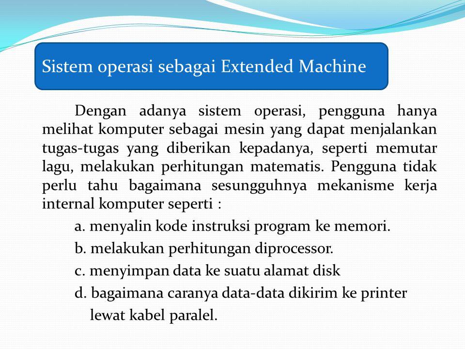 Dengan adanya sistem operasi, pengguna hanya melihat komputer sebagai mesin yang dapat menjalankan tugas-tugas yang diberikan kepadanya, seperti memut