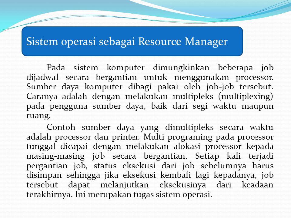 Pada sistem komputer dimungkinkan beberapa job dijadwal secara bergantian untuk menggunakan processor. Sumber daya komputer dibagi pakai oleh job-job