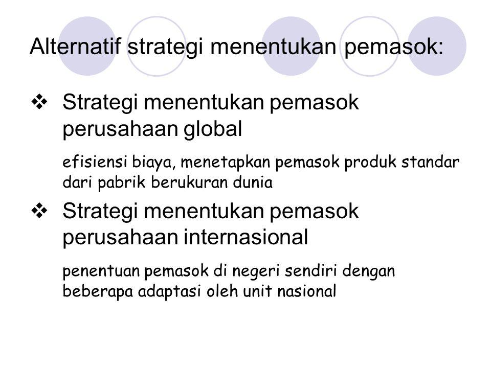 Alternatif strategi menentukan pemasok:  Strategi menentukan pemasok perusahaan global efisiensi biaya, menetapkan pemasok produk standar dari pabrik