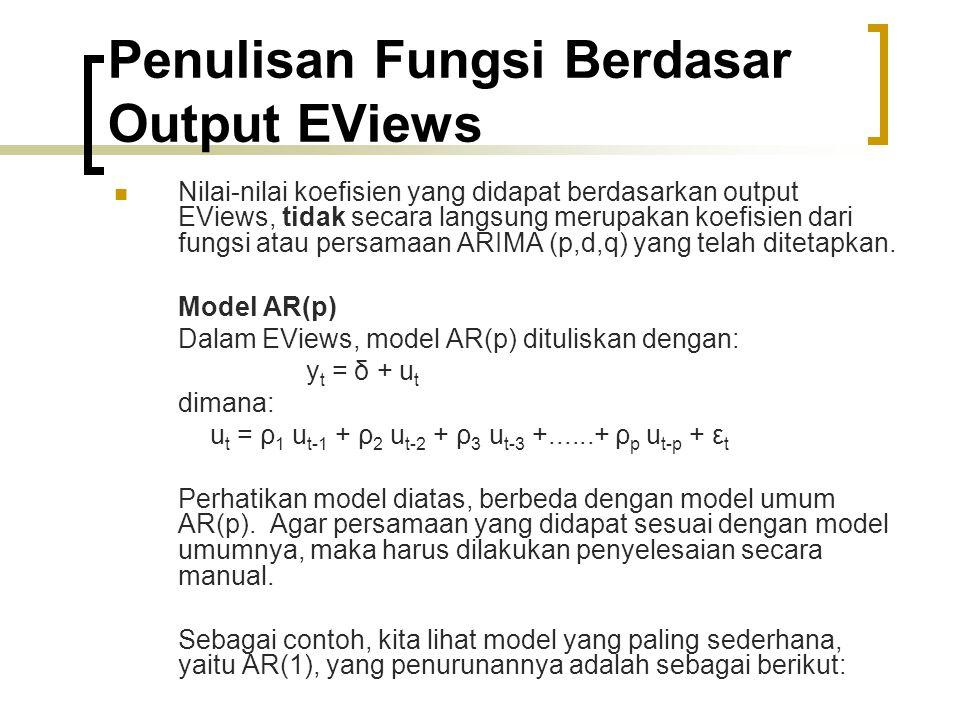 Penulisan Fungsi Berdasar Output EViews Nilai-nilai koefisien yang didapat berdasarkan output EViews, tidak secara langsung merupakan koefisien dari fungsi atau persamaan ARIMA (p,d,q) yang telah ditetapkan.