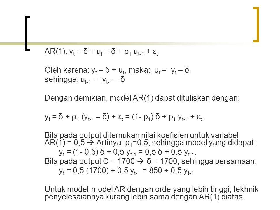 AR(1): y t = δ + u t = δ + ρ 1 u t-1 + ε t Oleh karena: y t = δ + u t, maka: u t = y t – δ, sehingga: u t-1 = y t-1 – δ Dengan demikian, model AR(1) dapat dituliskan dengan: y t = δ + ρ 1 (y t-1 – δ) + ε t = (1- ρ 1 ) δ + ρ 1 y t-1 + ε t.