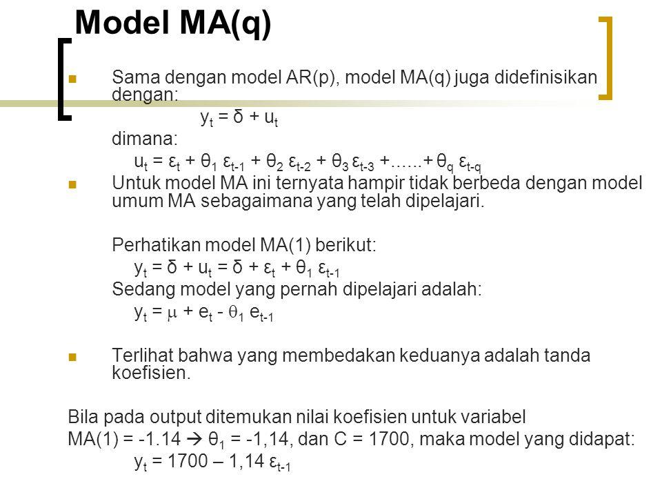 Model MA(q) Sama dengan model AR(p), model MA(q) juga didefinisikan dengan: y t = δ + u t dimana: u t = ε t + θ 1 ε t-1 + θ 2 ε t-2 + θ 3 ε t-3 +......+ θ q ε t-q Untuk model MA ini ternyata hampir tidak berbeda dengan model umum MA sebagaimana yang telah dipelajari.