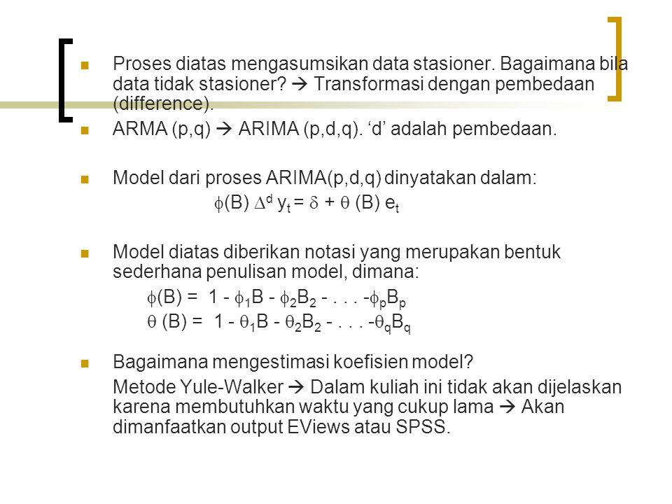 Proses diatas mengasumsikan data stasioner. Bagaimana bila data tidak stasioner?  Transformasi dengan pembedaan (difference). ARMA (p,q)  ARIMA (p,d