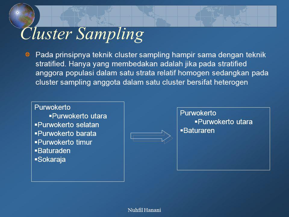 Nuhfil Hanani Double Sampng/Multyphase Sampling Double sample (sampel ganda) sering juga disebut dengan istilah sequential sampling (sampel berjenjang, multiphase-sampling (sampel multi tahap).