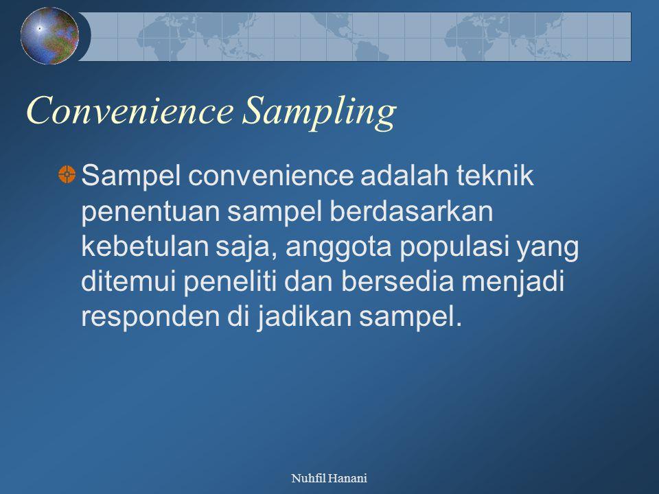 Nuhfil Hanani Purposive Sampling Merupakan metode penetapan sampel dengan berdasarkan pada kriteria- kriteria tertentu