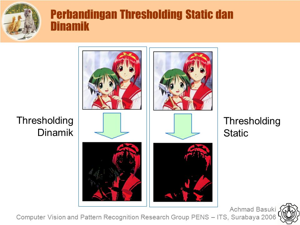 Achmad Basuki Computer Vision and Pattern Recognition Research Group PENS – ITS, Surabaya 2006 Perbandingan Thresholding Static dan Dinamik Thresholdi