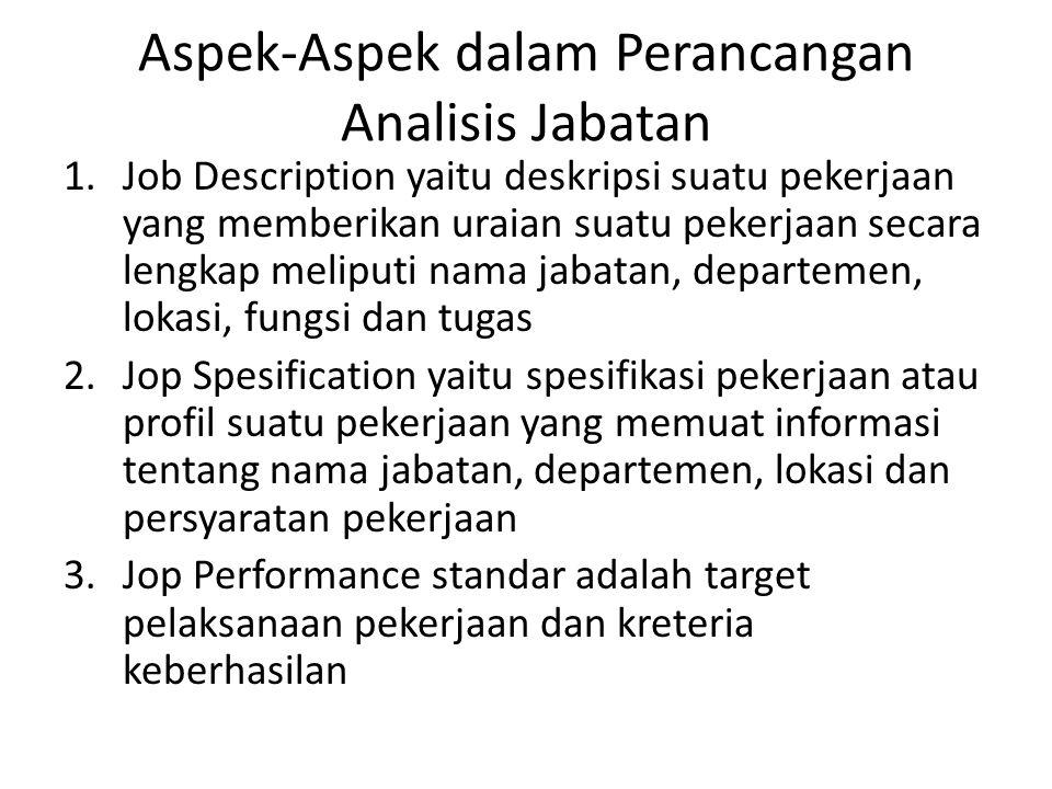 Aspek-Aspek dalam Perancangan Analisis Jabatan 1.Job Description yaitu deskripsi suatu pekerjaan yang memberikan uraian suatu pekerjaan secara lengkap