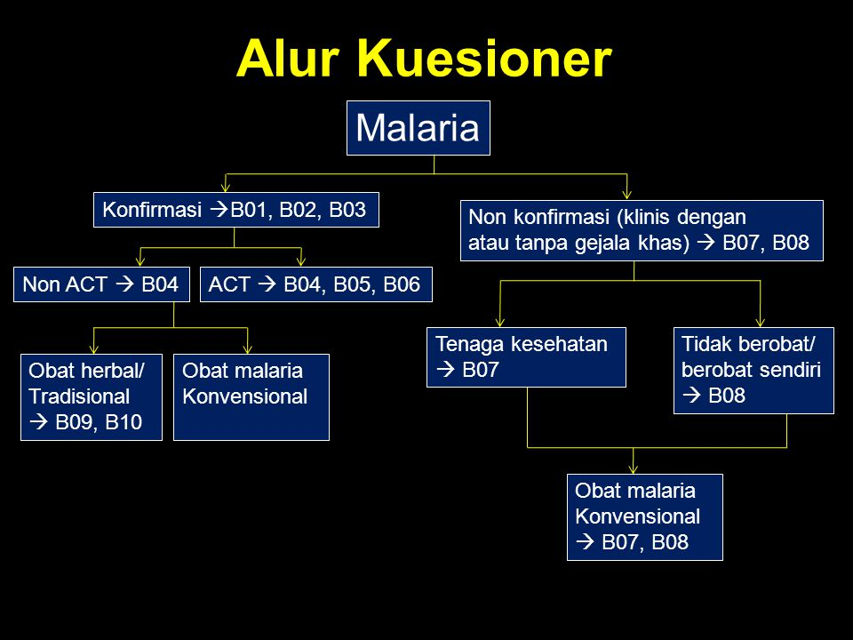 Alur Kuesioner Malaria Konfirmasi  B01, B02, B03 Non konfirmasi (klinis dengan atau tanpa gejala khas)  B07, B08 Non ACT  B04ACT  B04, B05, B06 Te