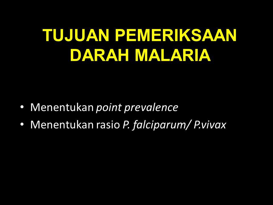 TUJUAN PEMERIKSAAN DARAH MALARIA Menentukan point prevalence Menentukan rasio P. falciparum/ P.vivax