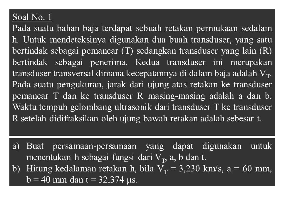 Soal No. 1 Pada suatu bahan baja terdapat sebuah retakan permukaan sedalam h. Untuk mendeteksinya digunakan dua buah transduser, yang satu bertindak s