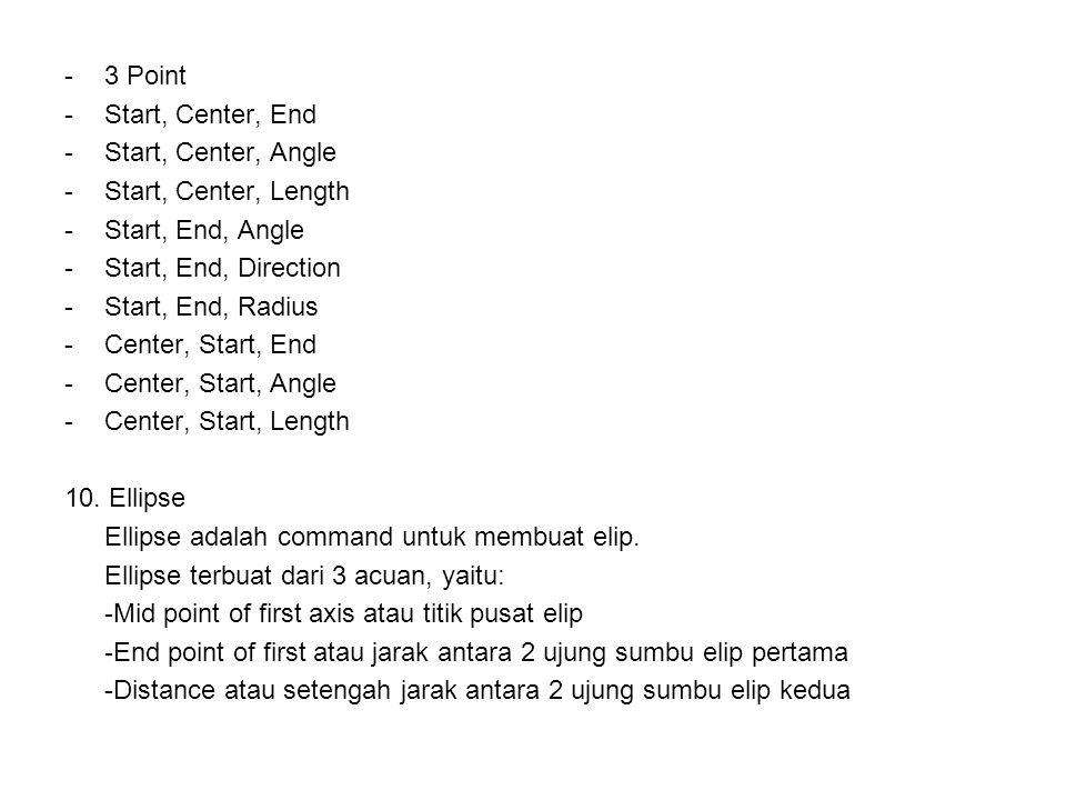 -3-3 Point -S-Start, Center, End -S-Start, Center, Angle -S-Start, Center, Length -S-Start, End, Angle -S-Start, End, Direction -S-Start, End, Radius -C-Center, Start, End -C-Center, Start, Angle -C-Center, Start, Length 10.