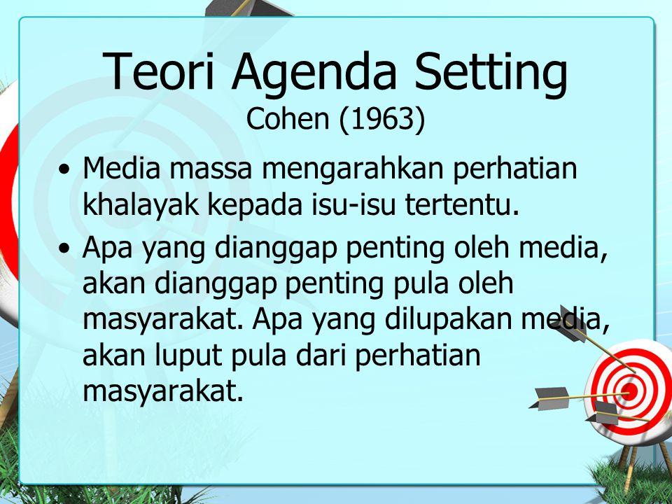 Teori Agenda Setting Cohen (1963) Media massa mengarahkan perhatian khalayak kepada isu-isu tertentu. Apa yang dianggap penting oleh media, akan diang