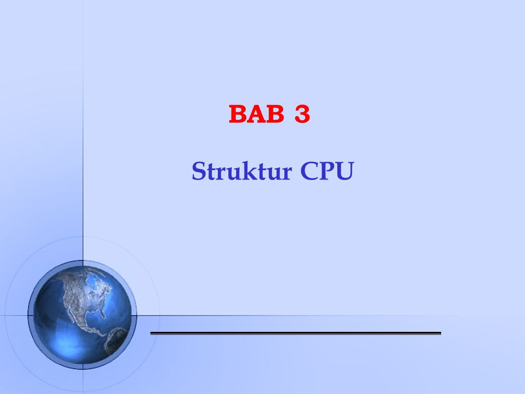 Komponen Utama CPU  Arithmetic and Logic Unit (ALU), bertugas membentuk fungsi ‑ fungsi pengolahan data komputer  Control Unit, bertugas mengontrol operasi CPU dan secara keseluruhan mengontrol komputer sehingga terjadi sinkronisasi kerja antar komponen dalam menjalankan fungsi ‑ fungsi operasinya  Registers, adalah media penyimpan internal CPU yang digunakan saat proses pengolahan data  CPU Interconnections, adalah sistem koneksi dan bus yang menghubungkan komponen internal CPU, yaitu ALU, unit kontrol dan register ‑ register dan juga dengan bus ‑ bus eksternal CPU yang menghubungkan dengan sistem lainnya
