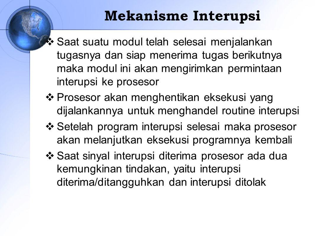 Mekanisme Interupsi  Saat suatu modul telah selesai menjalankan tugasnya dan siap menerima tugas berikutnya maka modul ini akan mengirimkan permintaa