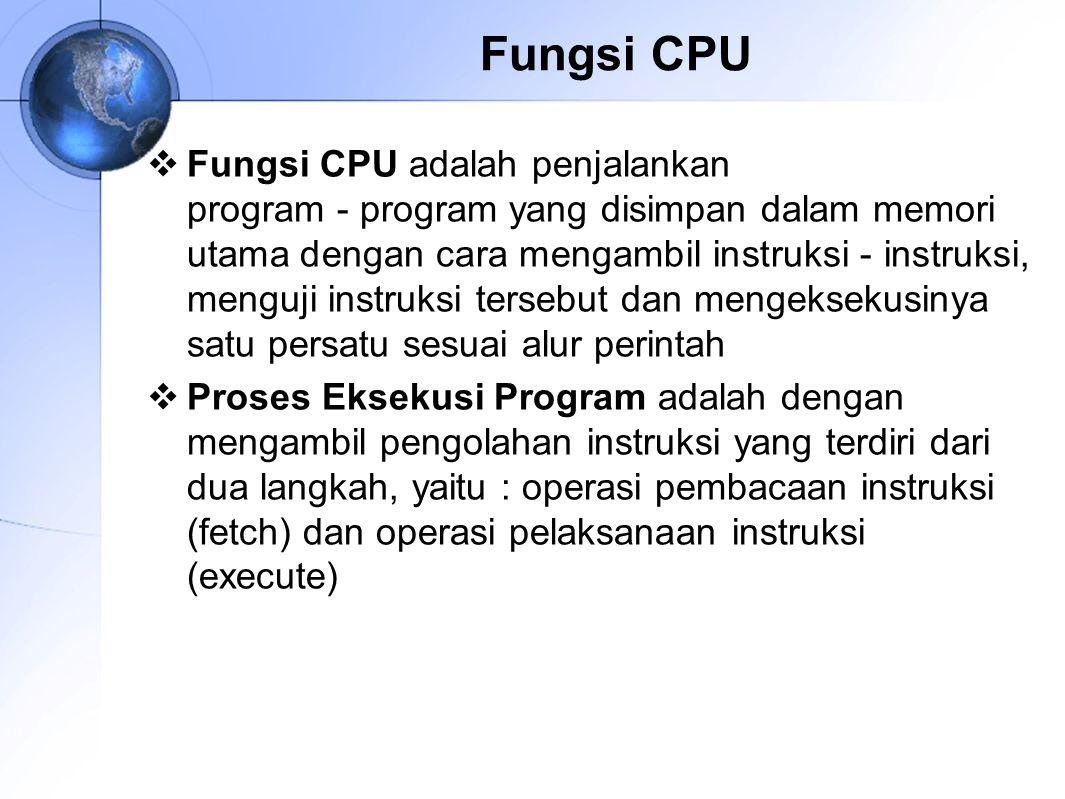 Siklus Fetch-Eksekusi  CPU awalnya akan membaca instruksi dari memori  Terdapat register dalam CPU yang berfungsi mengawasi dan menghitung instruksi selanjutnya, yang disebut Program Counter (PC)  PC akan menambah satu hitungannya setiap kali CPU membaca instruksi  Instruksi ‑ instruksi yang dibaca akan dibuat dalam register instruksi (IR)