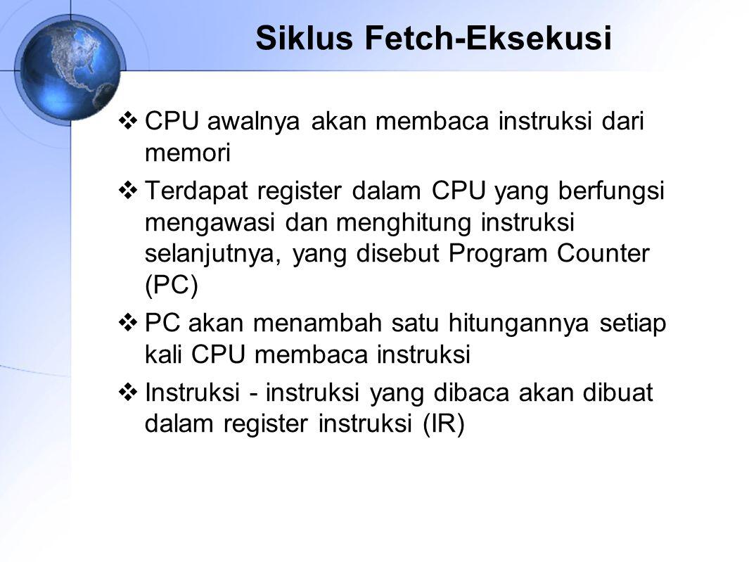 Siklus Fetch-Eksekusi  CPU awalnya akan membaca instruksi dari memori  Terdapat register dalam CPU yang berfungsi mengawasi dan menghitung instruksi