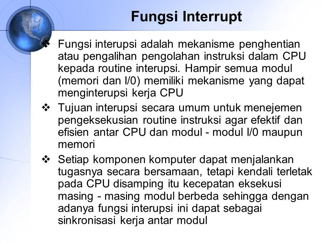 Fungsi Interrupt  Fungsi interupsi adalah mekanisme penghentian atau pengalihan pengolahan instruksi dalam CPU kepada routine interupsi. Hampir semua