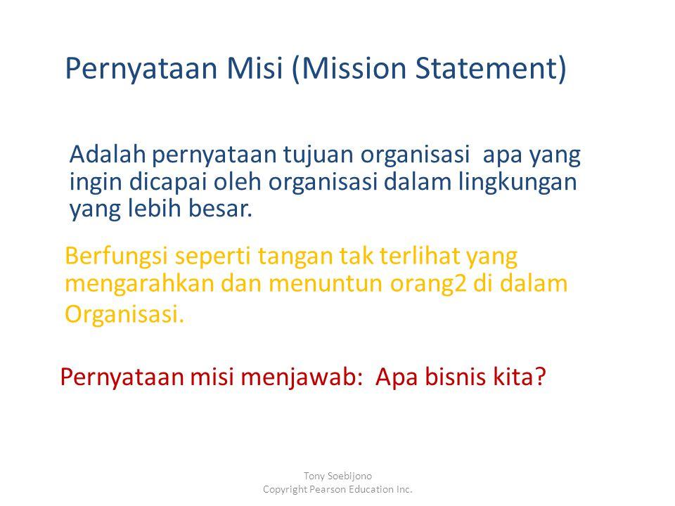 Pernyataan Misi (Mission Statement) Adalah pernyataan tujuan organisasi apa yang ingin dicapai oleh organisasi dalam lingkungan yang lebih besar. Berf