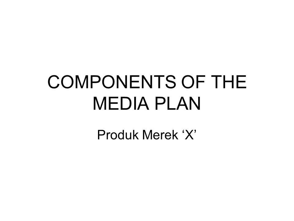 COMPONENTS OF THE MEDIA PLAN Produk Merek 'X'