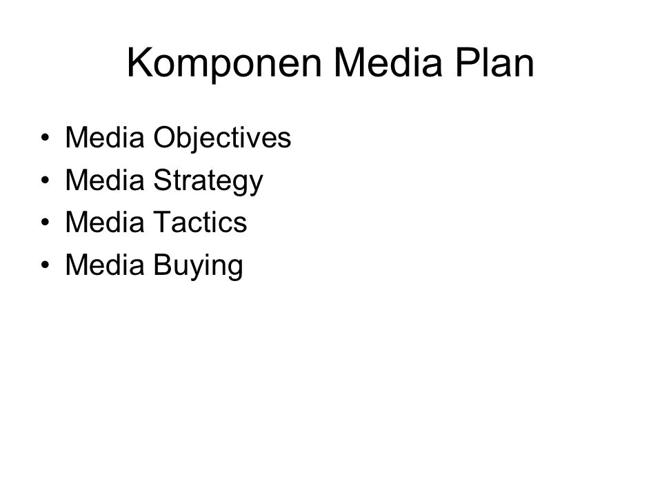 Komponen Media Plan Media Objectives Media Strategy Media Tactics Media Buying