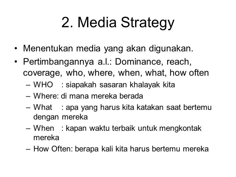 2. Media Strategy Menentukan media yang akan digunakan. Pertimbangannya a.l.: Dominance, reach, coverage, who, where, when, what, how often –WHO: siap