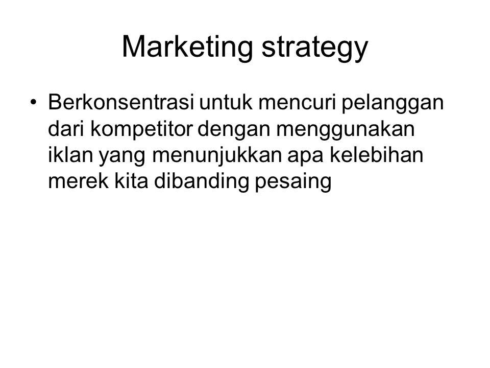 Marketing strategy Berkonsentrasi untuk mencuri pelanggan dari kompetitor dengan menggunakan iklan yang menunjukkan apa kelebihan merek kita dibanding