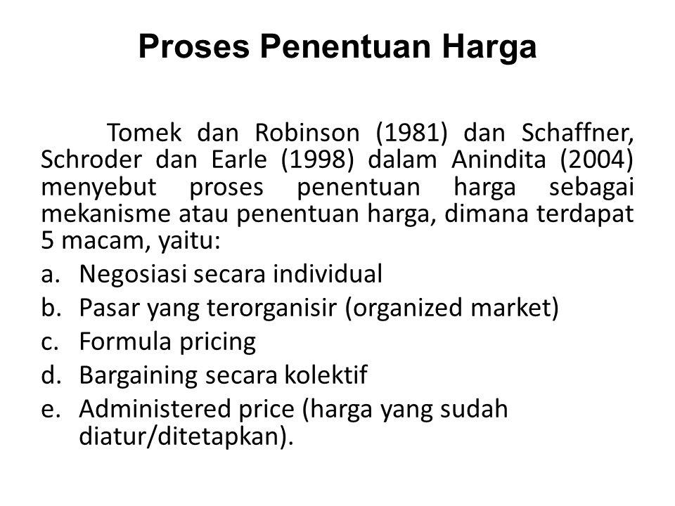 Proses Penentuan Harga Tomek dan Robinson (1981) dan Schaffner, Schroder dan Earle (1998) dalam Anindita (2004) menyebut proses penentuan harga sebagai mekanisme atau penentuan harga, dimana terdapat 5 macam, yaitu: a.Negosiasi secara individual b.Pasar yang terorganisir (organized market) c.Formula pricing d.Bargaining secara kolektif e.Administered price (harga yang sudah diatur/ditetapkan).