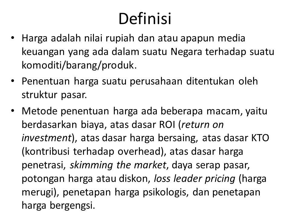 Definisi Harga adalah nilai rupiah dan atau apapun media keuangan yang ada dalam suatu Negara terhadap suatu komoditi/barang/produk.