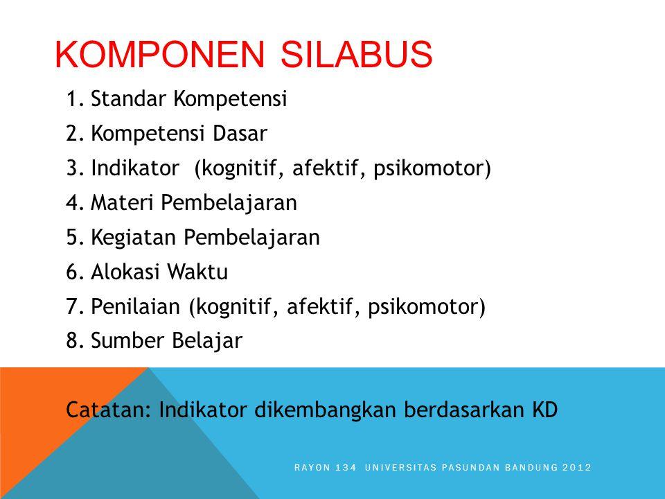 KOMPONEN SILABUS 1.Standar Kompetensi 2.Kompetensi Dasar 3.Indikator (kognitif, afektif, psikomotor) 4.Materi Pembelajaran 5.Kegiatan Pembelajaran 6.Alokasi Waktu 7.Penilaian (kognitif, afektif, psikomotor) 8.Sumber Belajar Catatan: Indikator dikembangkan berdasarkan KD RAYON 134 UNIVERSITAS PASUNDAN BANDUNG 2012